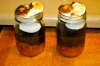 Once cake is baked, take jars out of oven and turn on the broiler. Carefully add marshmallows on top (i used about 4 each) and stick them in the broiler. They become golden brown FAST so check on them in literally a minute.